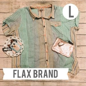 Flax Brand Plaid Button Up Shirt Mint and Tan